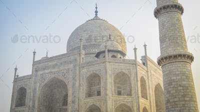 Exterior view of the Taj Mahal palace and mauseleum, a UNESCO world heritage site, a palace with
