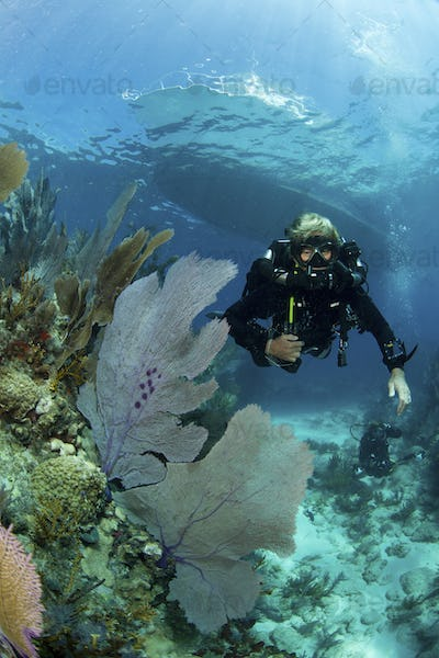 Female technical diver wearing a rebreather swimming over a coral reef.
