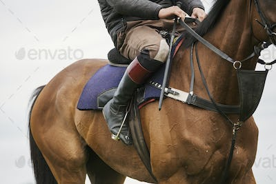 Close up of a rider wearing black riding boots riding a bay racehorse with short stirrups.