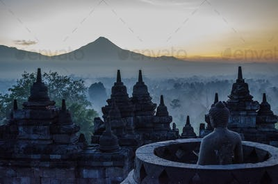 Borobudur, or Barabudur, a 9th century Mahayana Buddhist temple in Magelang. Elevated view of the