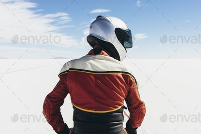 View from behind of motorcyclist at start line on the Salt Flats