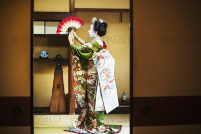 A woman dressed in the traeditional geisha style, wearing a kimono and obi, with an elaborate