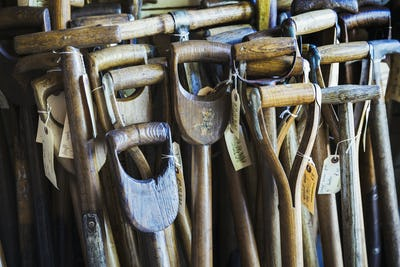 Close up of the worn and weathered wooden handles of old traditional spades in a workshop with