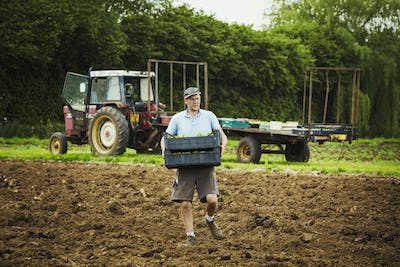 A man carrying a tray of seedlings across a field with a tractor in the background.