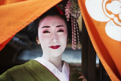 A woman dressed in the traeditional geisha style, wearing a kimono with an elaborate hairstyle and