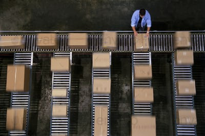 Warehouse employees organizing cardboard boxes moving on a conveyor belt in a distribution
