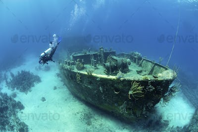 A diver underater exploring the wreck of a sunken ship on the seabed near Nassau.