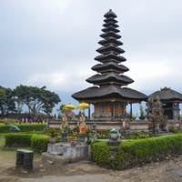 Balinese Hindu Temple, Ulu Danu Beratan, traditional architecture and tall towers with tiered