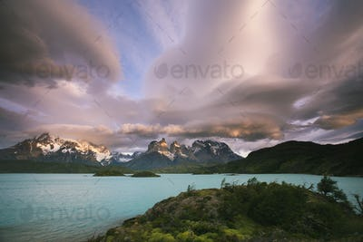 Cloud formations in the skies above the Torres del Paine National Park in Chile. Sunset over the