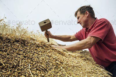 Man thatching a roof, using a wooden mallet.