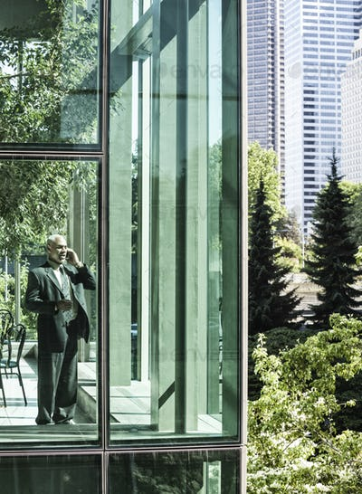 Businessman on the phone standing in a glassed in walkway.