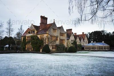 Exterior view of Le Manoir aux Quat'Saisons, Oxfordshire in winter.