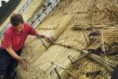 Man thatching a roof, thatching tools, including a wooden mallet, and shearing hooks.