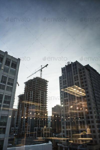 Buildings under construction in Bellevue, Washington USA.