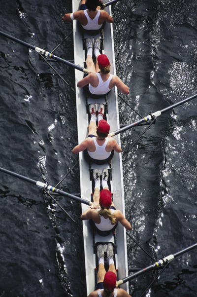 Overhead view of female crew racers rowing a sports racing shell.  boat
