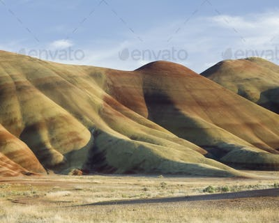 John Day Fossil Beds National Monument, the Painted Hills landmark, geological strata and coloured