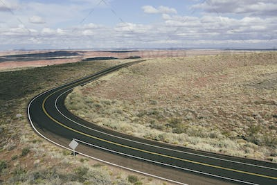 Curving road through the Painted Desert