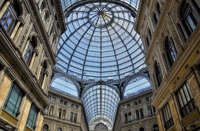 Glass dome of the Galleria Umberto I shopping centre in Naples