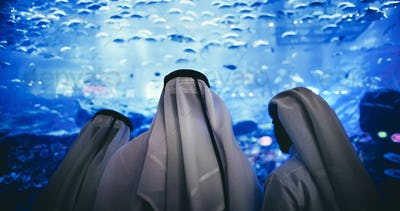 Three men wearing traditional Arab dress looking at a tank full of fish in an aquarium.