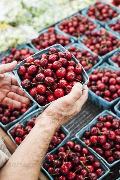 High angle close up of person holding punnet with fresh red cherries at a fruit and vegetable