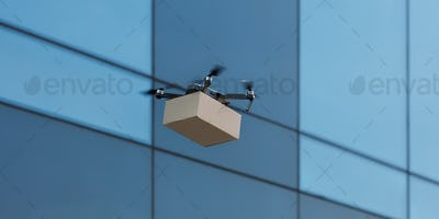 Quadrocopter delivering parcel by air in the city, copy space, panorama