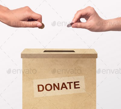 Volunteers putting money into box, donating for charity on white background