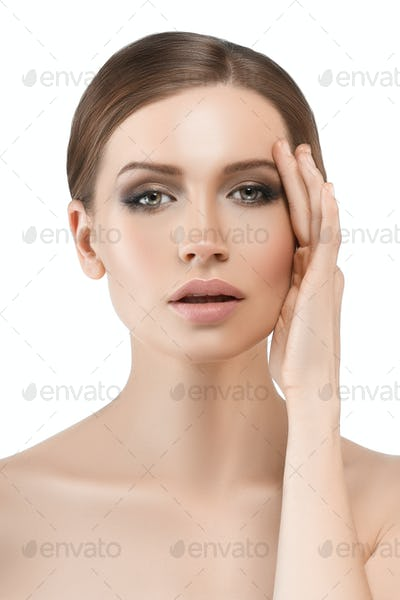 Clean healthy skin woman beautiful young cosmetic skin model