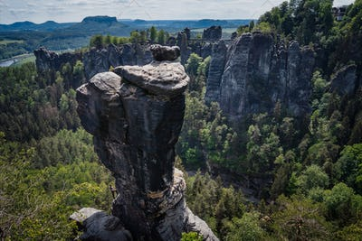 Ferdinandstein in famous Bastei national park Saxon Switzerland, Germany. Beautiful sand stone