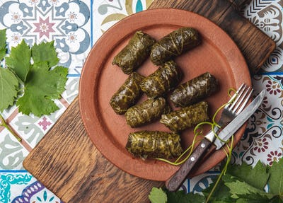 Plate of delicious stuffed grape leaves with parsley garnish.