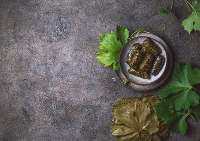 Grape leaves stuffed wish meat on clay plate