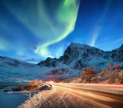 Northern lights on the Lofoten Islands, Norway.