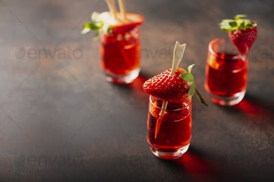 Shot with strawberry vodka