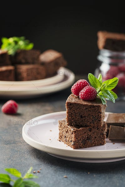 Pieces of a chocolate cake
