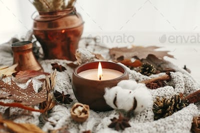 Hello autumn, cozy inspirational image.Hygge lifestyle. Candle with berries, fall leaves