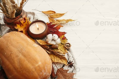 Pumpkin and candle with berries, fall leaves. Hygge lifestyle, cozy autumn mood. Happy Thanksgiving