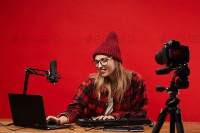 Woman shooting her musical blog