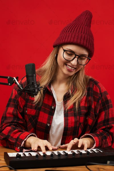 Young singer writing the song