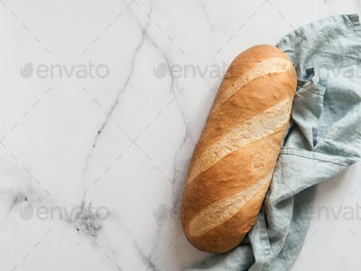 British White Bloomer or Baton loaf bread