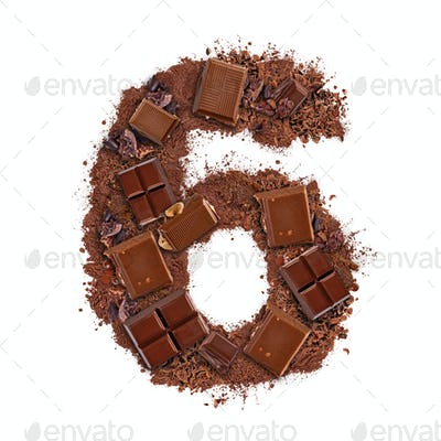 Number 6 made of chocolate bar