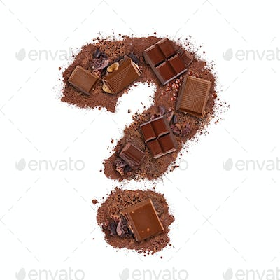 Question mark made of chocolate bar