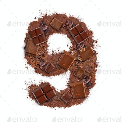 Number 9 made of chocolate bar