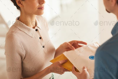 Woman receiving letters