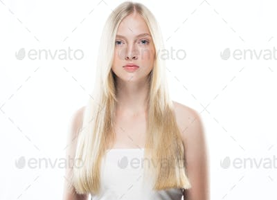 Pure clean skin blonde hair young model