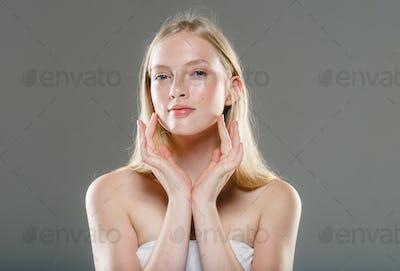 Beautiful female healthy skin fly hair