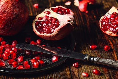 Opened Pomegranate with Seeds