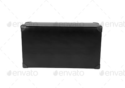 old blak briefcase isolated on white