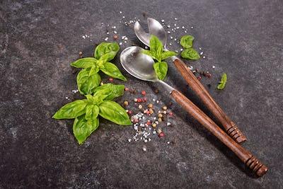 Top view of vintage spoons