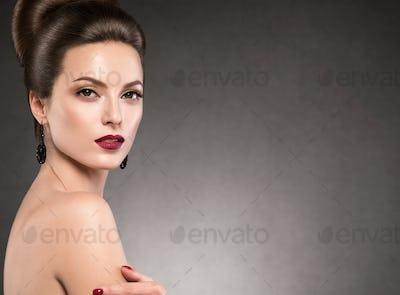Beautiful hairstyle woman beauty hair fashion makeup red lipstick