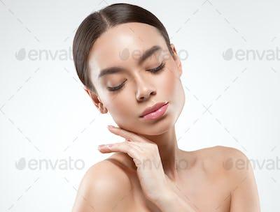 Asian beauty woman face clean skin