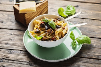 Italian traditional pasta with eggplant